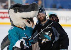 San Jose Sharks mascot S.J. Sharkie uses his selfie stick to take a selfie with defenseman Brent Burns (Feb. 20, 2015).