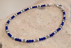 Blue and gray bracelet, lapis bracelet, labradorite bracelet, sterling silver bracelet, Hill Tribe silver bracelet, sundance style bracelet