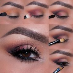 This easy to recreate look adds just the right amount of edge for a girl's night out and will enhance the golden tones of brown eyes. Products Used Makeup Geek Eye Shadow in Peach Smoothie Makeup Geek