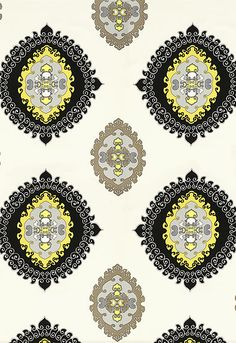 Black & Yellow. Schumacher - Super Paradise Print  Driftwood. Fabric SKU - 174322  100% Acrylic. Indoor/Outdoor