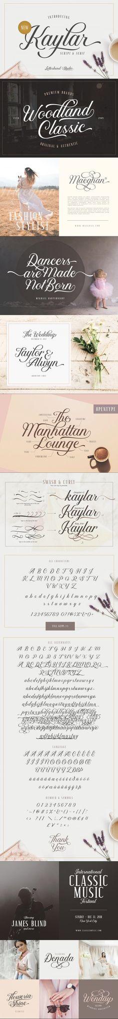 Kaylar - Elegant Script & Serif #casual #beauty #CursiveFont #fontpair #logotype #script #CalligraphicFont #ScriptFont #serif #signature #fontpair #lettering #women #branding #retro #calligraphy #logotype #BestScriptFonts #scriptfont