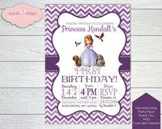 "Little Girl Princess Sofia the First Chevron Birthday Invitation - Pink Purple Modern - Invite  - ""5 x 7"""