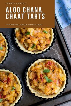 These Aloo Chana Chaat Tartlets have a savory tart shell filled with spicy potato and chickpea chaat. It's an amazing dish that is great to serve as an appetizer, side dish or as a snack. #cookshideout #appetizer #vegan Indian Foods, Indian Food Recipes, Gluten Free Cooking, Cooking Recipes, Easy To Make Appetizers, Tart Shells, Savory Tart, Christmas Appetizers, Chaat