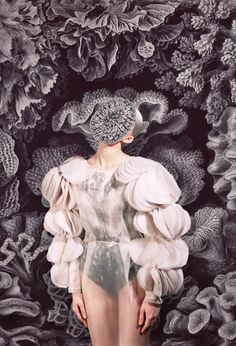 Ukranian designer and artist Masha Reva uses fashion as her present medium. This recent collection Merging, is an homage to overkill, pattern on pattern, nature vs nurture.
