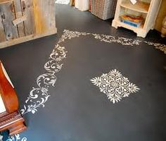 painted concrete floors diy. I like the stencil idea. Maybe something tropical for Florida room. Driven By Decor, Painted Rug, Painted Furniture, Painting Concrete, Painted Concrete Floors, Floor Painting, Gray Paint, Grey Paint Colors, Using Chalk Paint