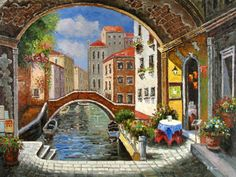 Venice Oil Painting 0075 Venice Painting, Paris Painting, Home Art, Worlds Largest, Art Gallery, Landscape, Canvas, Illustration, Artwork