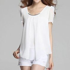 Buy Eloqueen Scoopneck Chiffon Blouse at YesStyle.com! Quality products at remarkable prices. FREE Worldwide Shipping available!