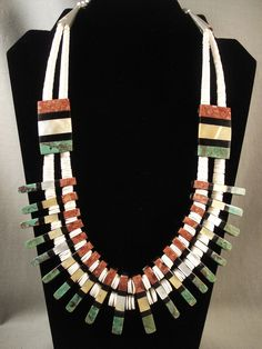 Advanced Inlay Work Vintage Santo Domingo Turquoise Coral Necklace Old