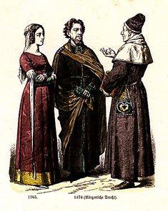 Plate #19b - Fourteenth Century - England      1365, 1376 (Middle-Class Dress)