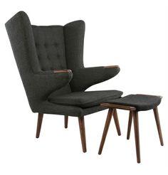 Replica Hans Wegner Papa Bear Chair and Ottoman - Premium main image