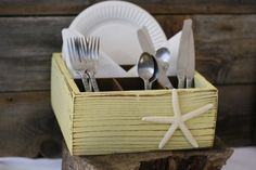 Silverware Napkin Paper Plate Holder Box Handmade by SignShack