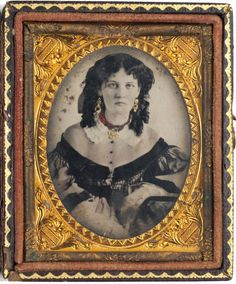 Texan woman with fashionable contemporary jewelry and hairstyle - 1868.