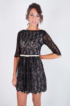 $35.10  35,10 € Vestido de encaje Alexandra con cinturón, vestidos, vestido corto, vestido de encaje, vestido negro, vestidos de fiesta, vestidos online, dresslux