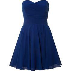 tfnc Strapless mini dress (9.860 HUF) ❤ liked on Polyvore featuring dresses, vestidos, short dresses, robes, blue, blue strapless dress, strapless cocktail dress, short strapless dresses, short prom dresses and blue mini dress
