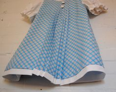 French Girls Dress Blue and White Retro Style Dress by SewnNatural