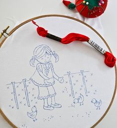 Folk Embroidery Patterns How to trace an embroidery pattern using a FriXion pen.I always forget that I have these! Crewel Embroidery, Cross Stitch Embroidery, Embroidery Patterns, Cross Stitch Patterns, Simple Embroidery, Embroidery Techniques, Sewing Crafts, Needlework, Forget