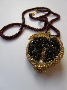 Pretty beaded pomegranate necklace