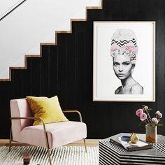 #interiordesign #stairs #pinkchair