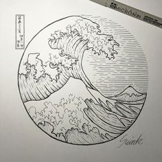Tatto ideas 2017 the great wave off kanagawa circle tattoo . Art Sketches, Art Drawings, Tattoo Sketch, Kreis Tattoo, Wave Drawing, Sea Drawing, Circle Drawing, Kunst Tattoos, Great Wave Off Kanagawa