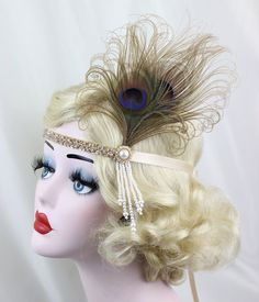 Great Gatsby Headpiece Champagne Feather by BatcakesCouture Flapper Headband, Pearl Headband, Pearl Hair, Fascinator Hats, 1920 Great Gatsby, Great Gatsby Headpiece, Girls Dance Costumes, 1920s Flapper, Flapper Style