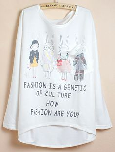 White Batwing Sleeve Letters Rabbit Print Dipped Hem T-Shirt US$17.21