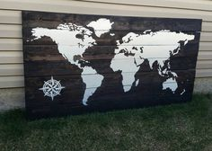 World Map Wood Sign  Oversize World Map Sign  by HamptonsNook