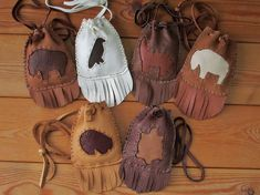 Animal Totem Medicine Bags - Choose Your Animal & Leather Colors - MADE TO ORDER