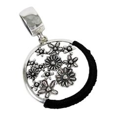 Scarf Jewelry Flower Collage Pendant