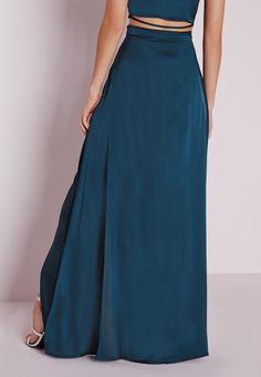 Missguided - Satin Wrap Maxi Skirt Teal