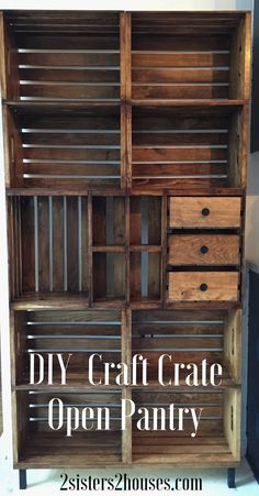 diy project craft crate or pallet open pantry shelving shelf, maybe bookcase. perfect for extra storage in a modern rustic kitchen. Articles En Bois, Crate Bookshelf, Crate Shelving, Book Shelves, Bookshelf Ideas, Bookshelf Speakers, Pallet Shelves, Open Pantry, Small Pantry
