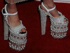 Lady Gaga wore a pair of A-Morir by Kerin Rose Weinberg custom 10″ pearl platform shoes