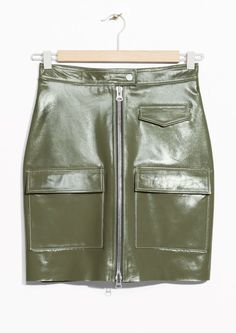 & Other Stories image 1 of Utilitarian Patent Leather Skirt in Khaki Green