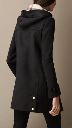 Straight Fit Wool Duffle Coat   Burberry