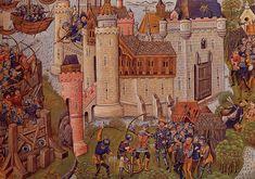 "Siege of Mortagne near Bordeaux in 1377. The Welsh mercenary captain Owain Lawgoch (French: ""Yvain de Galles"") is killed by an arrow. In fat he was stabbed by an English agent."