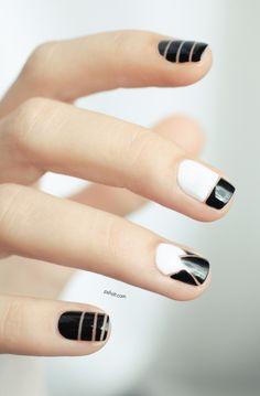 Nail art inspiration Alexander Wang : black and white nail art Nail Art Designs 2016, Cute Nail Art Designs, White Nail Designs, Fabulous Nails, Gorgeous Nails, Pretty Nails, Black And White Nail Art, Black White, Matte Black