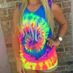 <<Tye Dye Monogram Tank Top >> A unisex fit tye dye tank top with your monogram! In any color combo you choose! If interested , tell me your size and which color you like BEFORE purchasing! I will let you know if I have it in stock and make you a custom listing Available in S,M,L Available in Vibrant Tainbow, Sunburst, and Rainbow Choose imprint color from list, glitter $2 extra Choose font from list Twang Boutique Tops