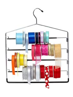 Pants Hanger For Ribbon Storage. Tie a pair of scissors to the top of the hanger so you can snip and go. Organisation Hacks, Ribbon Organization, Ribbon Storage, Clutter Organization, Craft Organization, Organizing Tips, Ideas Para Organizar, Craft Room Storage, Storage Ideas
