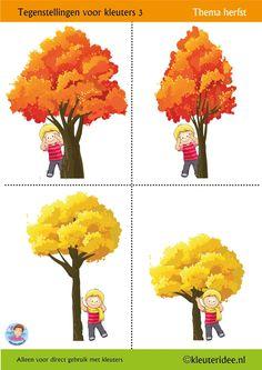Tegenstellingen voor kleuters 3, vier bladen,  thema herfst,  kleuteridee, Preschool opposites 3,  free printable.