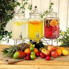 Triple Drinks - Dispenser in vetro per bibite su supporto - 12 ltr