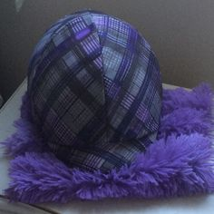 ~reversible purple plaid helmet cover matched with feathery halter covers ... custom made!~ Solid 'classic black' on reverse side of cover - perfect for the horse show ... switch back to the fun print for everyday use!