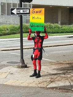 Westboro Baptist Deadpool Does anyone else find this as hysterical as I do? Seriously, I look at this and laugh and wonder why all of our problems can't be solved with a little Deadpool. Marvel Images, Dead Pool, Spideypool, Superfamily, X Men, Captain America, Promo Flyer, Dc Anime, Video X