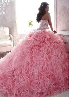 Lace Organza Sweetheart Neckline Ball Gown Quinceanera Dresses With Sequins Beadings Rhinestones Fl on Luulla