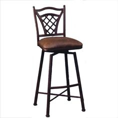 Waverly Autumn Rust 26-Inch Swivel Barstool with Florentine Coffee Cushion