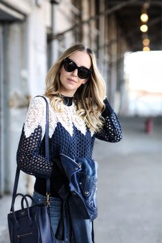 holed punch + lace sweater