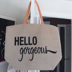 "2x HPHello gorgeous canvas tote Natural colored canvas tote with peach colored handles. Writing has sparkling subtle embellishments on the ""g's"" and the tail of the ""s.""  Brand new. Tags off. Bags Totes"