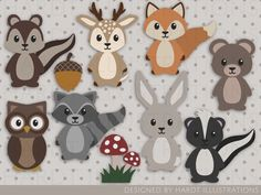 ideas baby boy clipart nursery decor for 2019 Woodland Critters, Woodland Decor, Woodland Baby, Woodland Creatures, Woodland Nursery, Woodland Animals, Forest Nursery, Felt Crafts, Paper Crafts