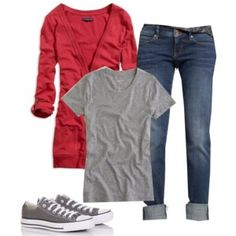Soccer Mom Fix - Shirt, Cardigan, and Distressed Jean Capris Capri Outfits, Outfits With Converse, Jean Outfits, Casual Outfits, Cute Outfits, Cheap Converse, Grey Converse, Converse Shoes, Casual Wear