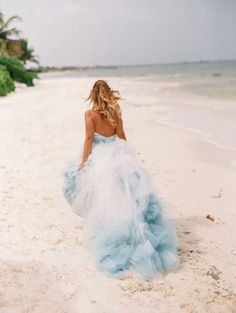 ombre blue tulle ball gown beach bridal dress - Deer Pearl Flowers