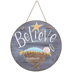 Believe Door Hanger, round wooden hangers. Hand painted, nativity, christmas sign,Believe Doo. Wooden Door Signs, Wooden Door Hangers, Wooden Doors, Letter Door Hangers, Christmas Wood, Christmas Signs, Believe, Christmas Door Decorations, Christmas Door Hangers
