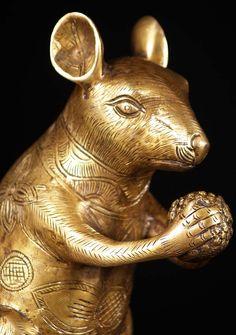 """Brass Statue of Ganesha's Rat Mooshika 11"""""""